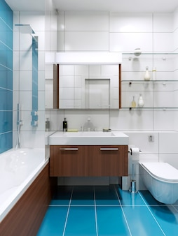Baño caro azul con azulejos brillantes