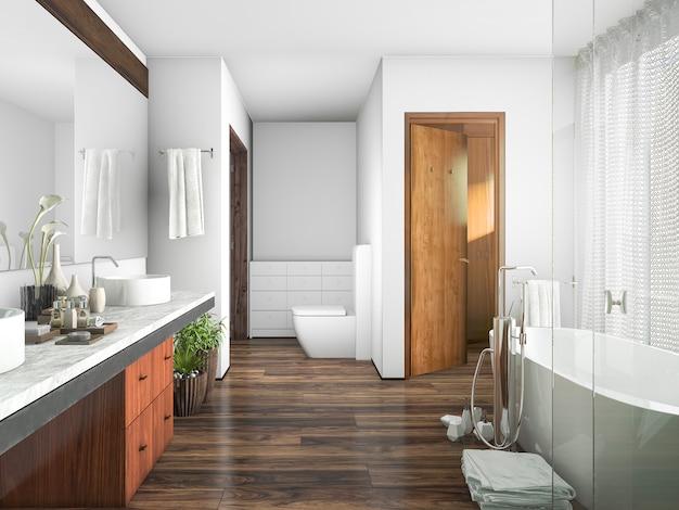 Baño de diseño de madera y azulejo de renderizado 3d cerca de la ventana una cortina