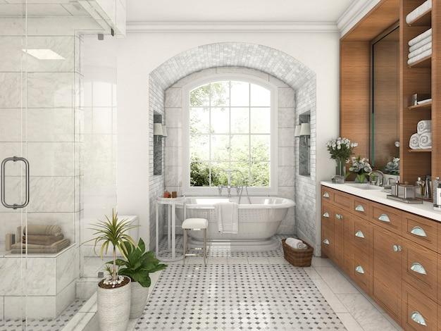 Baño de diseño de madera y azulejo de renderizado 3d cerca de la ventana con pared de ladrillo de arco