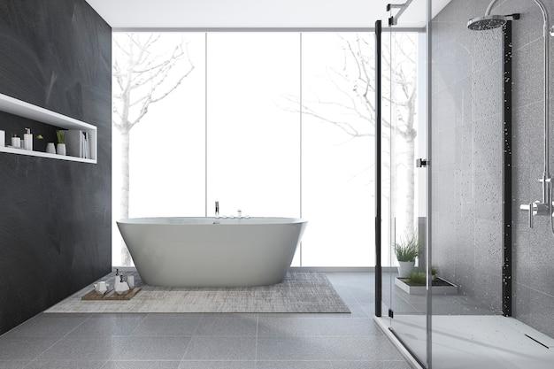 Baño de diseño moderno de renderizado 3d en invierno