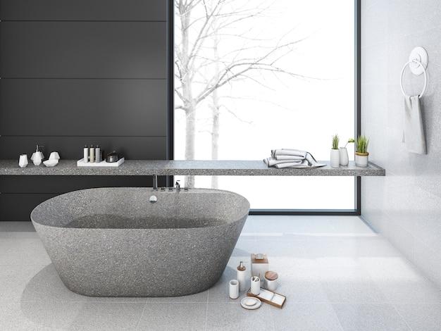 Baño de loft minimalista de renderizado 3d en invierno