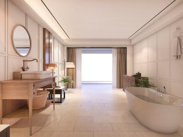 Baño de lujo con azulejos y muebles clásicos.