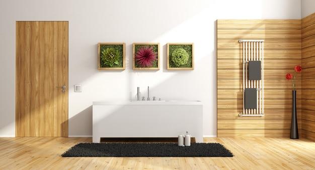 Baño moderno con bañera y puerta cerrada.