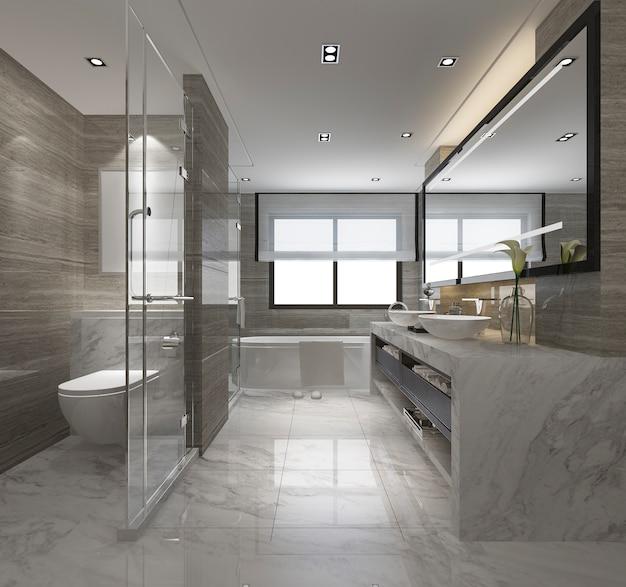 Baño moderno de renderizado 3d con decoración de azulejos de lujo.