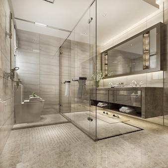 Baño moderno de renderizado 3d con decoración de azulejos de lujo
