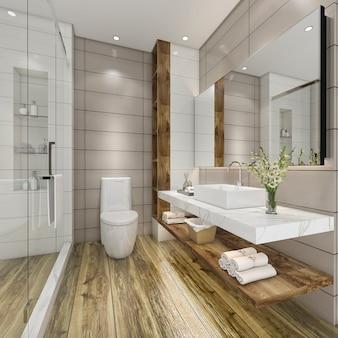 Baño moderno de representación 3d con decoración de azulejos de lujo