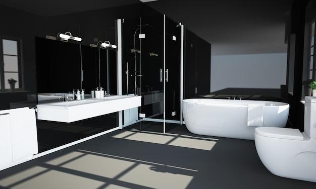 Baño negro con paredes reflectantes.