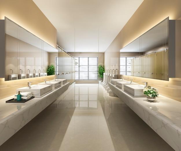 Baño público de madera y azulejos modernos