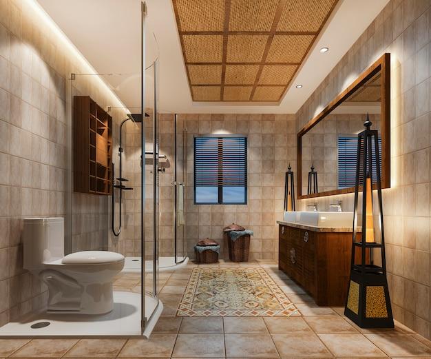 Baño vintage de renderizado 3d con decoración de azulejos tropicales de lujo