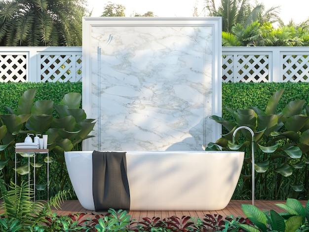 Baños al aire libre de lujo rodeados de naturaleza render 3d