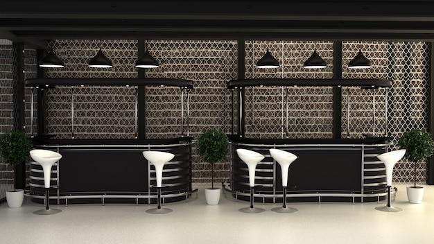 Bar estilo loft, diseño de interiores en sala de bar. representación 3d