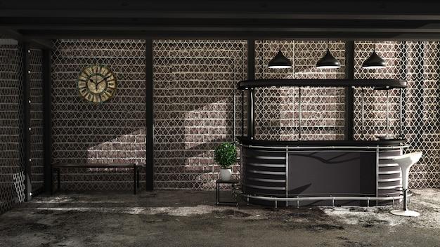 Bar estilo loft, vista frontal de la barra, mock up.