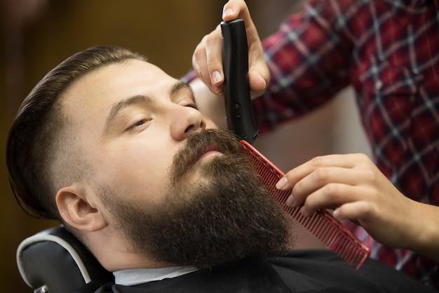 Barba, aseo, primer plano, tiro