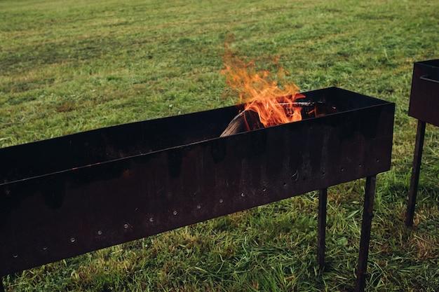 Barbacoa con fuego llameante y leña