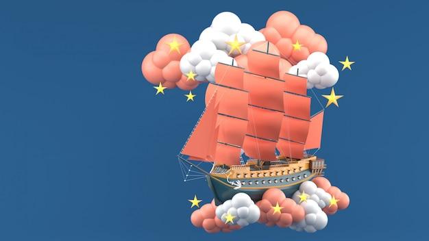 Barco azul con velas naranjas flotando en las nubes y las estrellas en el azul. render 3d