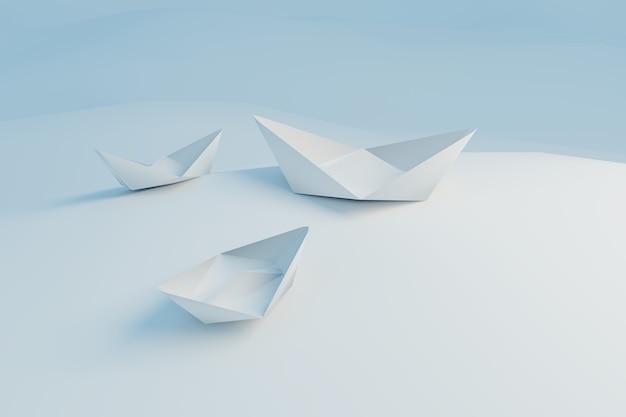 Barco líder blanco con bandera roja tomar una acción líder en equipo, renderizado de ilustración 3d