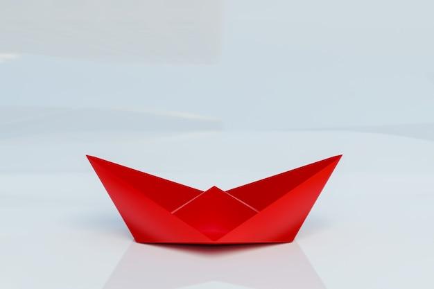Barco de papel rojo 3d sobre fondo blanco, representación de ilustración 3d
