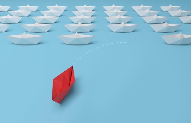 Barco de papel rojo en primer plano entre blanco sobre fondo azul. representación 3d.