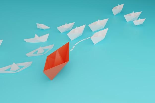 Barco de papel toma la delantera del barco de papel blanco y pequeño, pensamiento diferente para el éxito