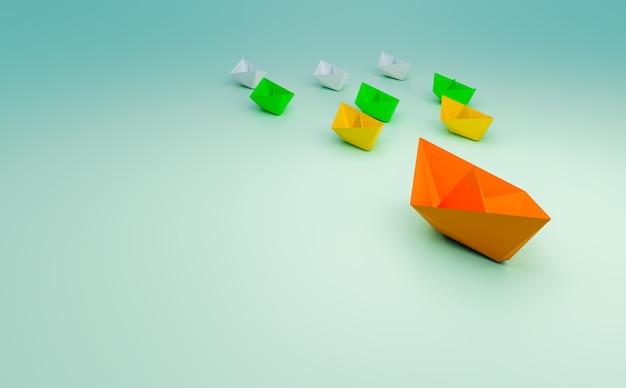 Barco de papel toma un líder y trabajo en equipo, renderizado de ilustración 3d