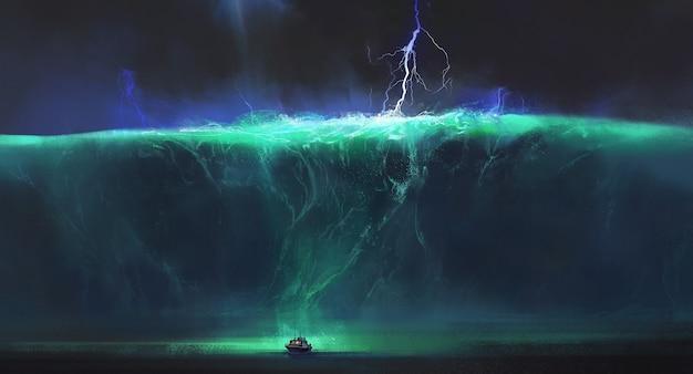 Barco pequeño frente a enormes olas del mar, ilustración de fantasía.