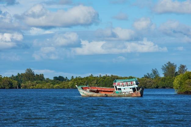 Un barco en un río con el fondo del bosque del mangle y el cielo brillante.