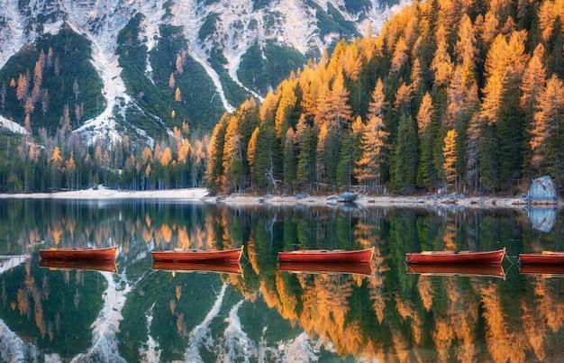 Barcos de madera en el lago braies al amanecer en otoño