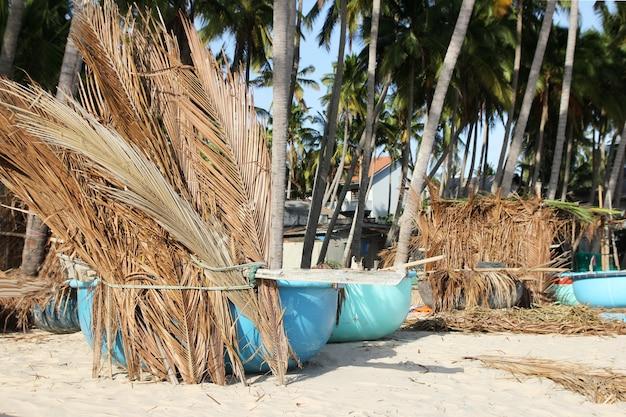 Barcos de pesca bajo palmeras en playa tropical