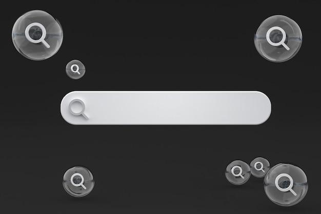 Barra de búsqueda y búsqueda de iconos 3d render diseño minimalista sobre fondo vacío