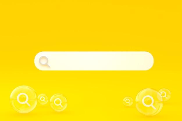 Barra de búsqueda e icono de búsqueda 3d render