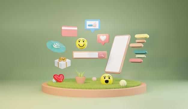 Barra de búsqueda en línea en el teléfono inteligente. buscar en internet, renderizado 3d