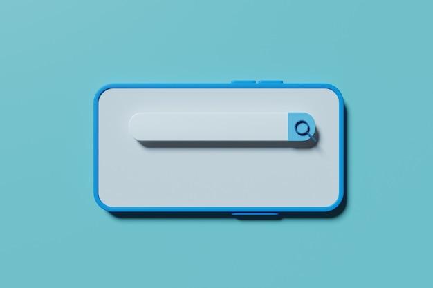 Barra de búsqueda simple en la pantalla del teléfono. representación 3d
