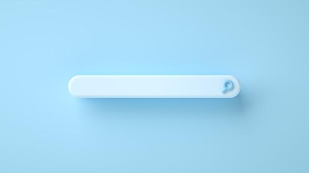 Barra de búsqueda web en blanco de ilustración d sobre fondo azul concepto de internet
