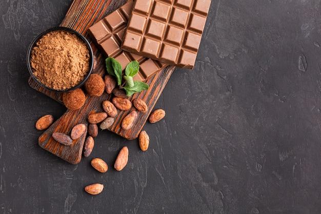 Barra de chocolate copia espacio