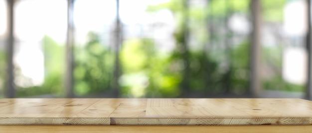 Barra de mostrador de madera vacía en el interior