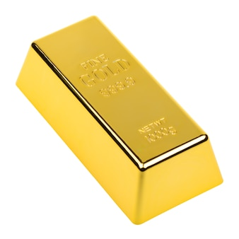 Barra de oro aislada sobre fondo blanco. lingotes de metales preciosos. conocimiento de los negocios. concepto de banca y finanzas.