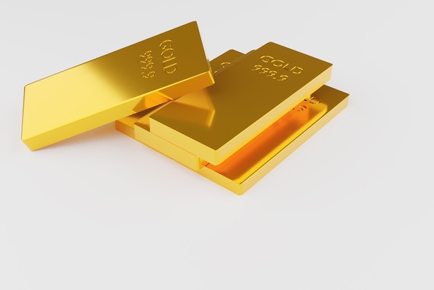 Barra de oro fino sobre fondo blanco.