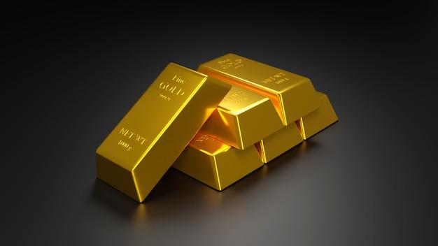Barra de oro y moneda de oro para el negocio., representación 3d.