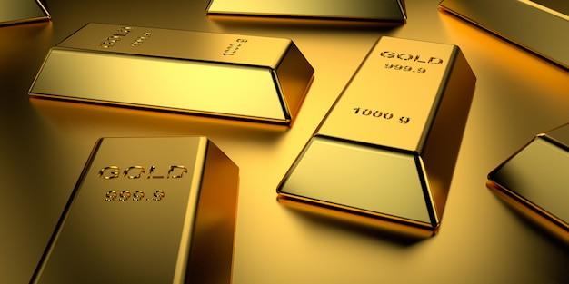 Barras de oro apiladas