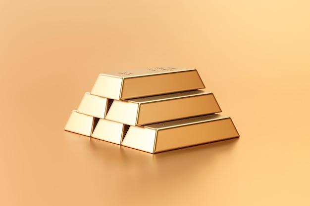 Barras de oro puro y concepto de moneda financiera sobre fondo de tesoro dorado con inversión empresarial. representación 3d.