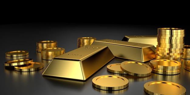 Barras de oro para el sitio web. representación 3d