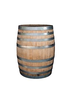 Barril de madera aislado sobre fondo blanco.