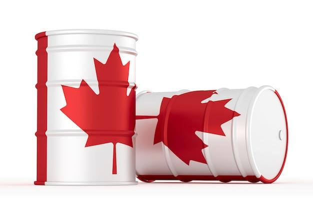 Barriles de bandera de estilo petrolero de canadá aislados
