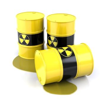 Barriles radiactivos. los barriles contienen desechos radiactivos. representación de formas tridimensionales