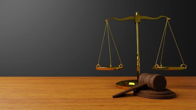 Básculas de la justicia básculas de ley y ley de martillo mazo de juez de madera martillo y base 3d render