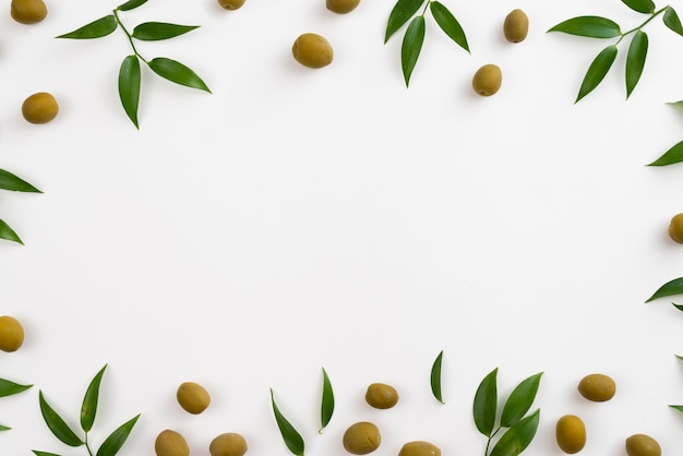 Bastidor de aceitunas y hojas.
