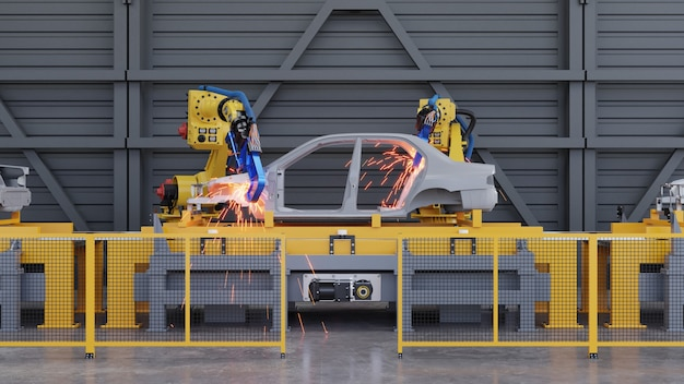 Bastidor de automóvil sobre transportador deslizante en la planta de automóviles con robots de soldadura por puntos. representación 3d
