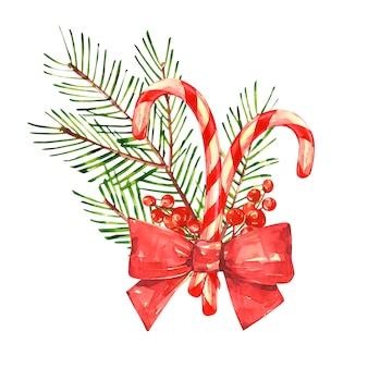 Bastón de caramelo de navidad con árbol de navidad. acuarelas mirando a los estantes