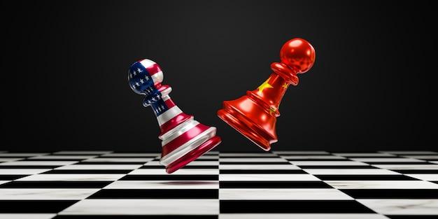 Batalla de ajedrez en un tablero de ajedrez entre china y estados unidos como símbolo de la guerra comercial y el concepto de conflicto militar.