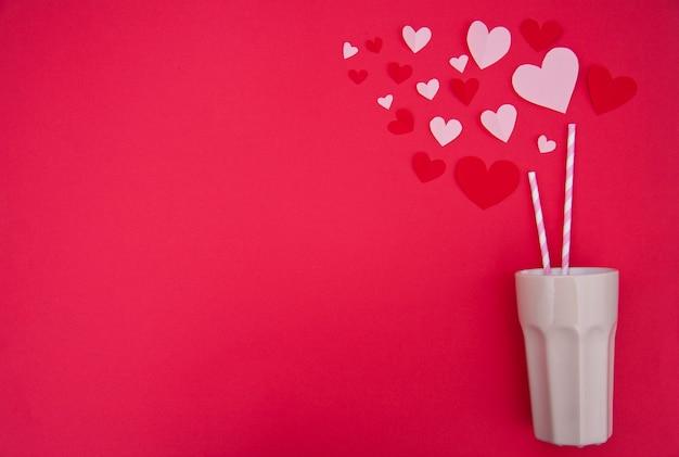 Batido de leche para dos - concepto de san valentín